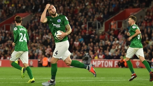 Shane Duffy scored Brighton's first goal with a header from a set-piece