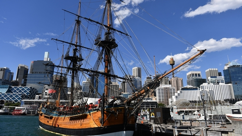 A replica of the Endeavour vessel sits in Sydney's Darling Harbour