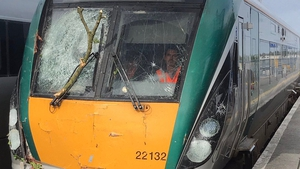 The Westport to Dublin train was damage by fallen trees this morning