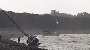 Some boats in Rinville Quay in Oranmore broke their moorings and are now lying up on shoreline