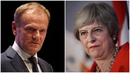 "Theresa May said she had a ""frank"" meeting with Donald Tusk"