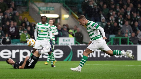 Leigh Griffiths heads home the winner for Celtic