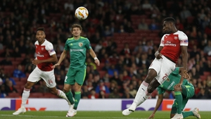 Danny Welbeck scores the Gunners' second goal