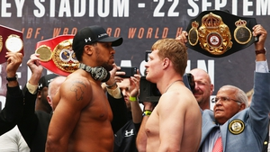 Anthony Joshua and Alexander Povetkin face off