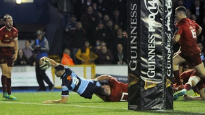 Tomos Williams scores a try for Cardiff