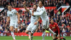 Wolves' Joao Moutinho celebrates his goal against Manchester United
