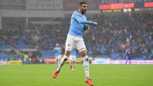 Riyad Mahrez celebrates his second goal