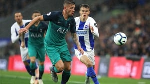 Solomon March of Brighton and Hove Albion and Toby Alderweireld of Tottenham Hotspur