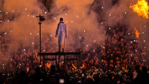 Anthony Joshua makes a dramatic entrance at Wembley Stadium