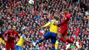 Joel Matip scores Liverpool's second goal against Southampton