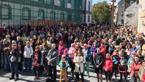 Hundreds of people are protesting in Waterford city centre
