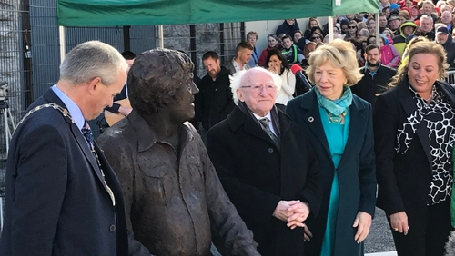 The larger-than-life sculpture was unveiled by President Michael D Higgins this afternoon