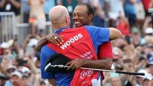 Tiger Woods celebrates a memorable success