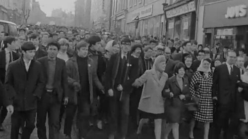 On the march: a protest in Derry in December 1968