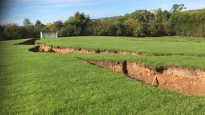 The impact of the collapse at the Magheracloone GAA grounds (Pic: Border Regions TV)