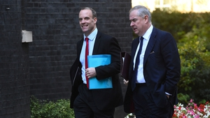 Dominic Raab (left) and UK Attorney General Geoffrey Cox arrive for the Cabinet meeting