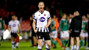 Chris Shields celebrates his goal against Cork