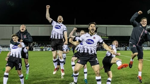Dundalk celebrate at full-time in Oriel Park