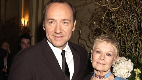 Judi Dench and Kevin Spacey photographed in 2002 in London at the party following the premiere of their film The Shipping News