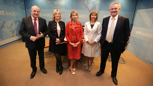 Gavin Duffy, Liadh Ní Riada, presenter Áine Lawlor, Joan Freeman and Peter Casey before the radio debate