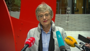 Katherine Zappone addressing the media this afternoon