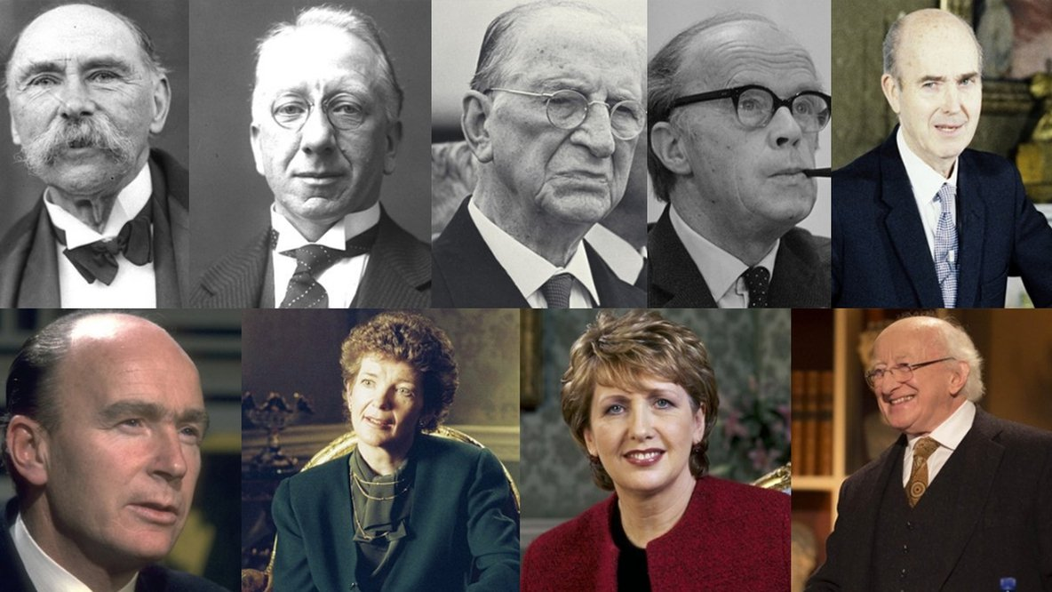 Presidents of Ireland Douglas Hyde Sean T O'Kelly Éamon de Valera Erskine Childers Cearbhall Ó Dálaigh Patrick Hillery Mary Robinson Mary McAleese Michael D Higgins