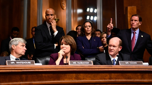 Members of the Senate Judiciary Committee look on during the hearing in Washington DC