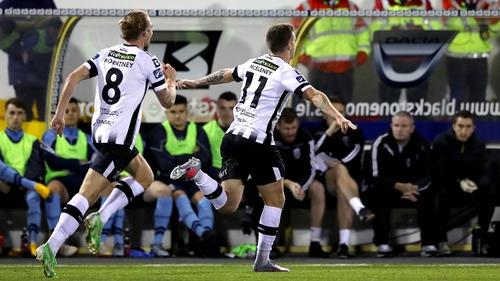 Patrick McEleney celebrates his decisive goal against UCD