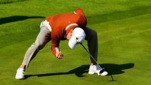 Sergio García of Europe celebrates his putt on the 17th