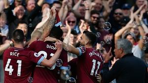 West Ham United's Austrian midfielder Marko Arnautovic celebrates after scoring their third goal