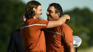 Francesco Molinari (R) and Europe's English golfer Tommy Fleetwood led the European charge