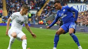Cardiff City's Josh Murphy (R) & Burnley's Johann Berg Gudmundsson