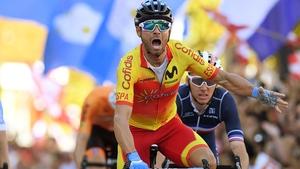 Alejandro Valverde of Spain crosses the finish line