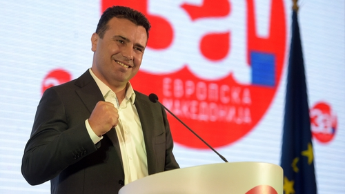 Macedonian Prime Minister Zoran Zaev holds a press conference after the closing of the polls