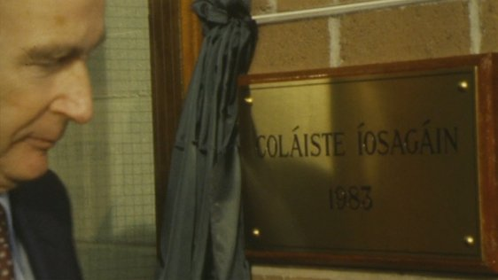 Coláiste Íosagáin officially opened by President Hillery in 1983
