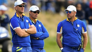 Padraig Harrington, pictured with Robert Karlsson and Lee Westwood