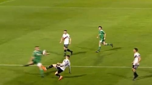 Darragh Leahy concedes a penalty during the FAI Cup semi-final