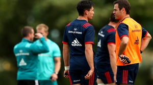 Joey Carbery (L) and Johann van Graan at Munster training