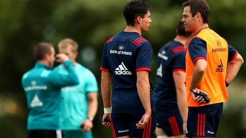 Joey Carbery (L) and Johann van Graan at Munster training