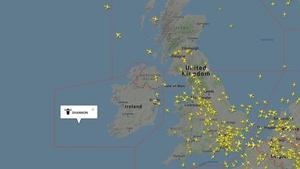 Irish airspace was virtually empty earlier this evening (Pic Flight Radar 24)
