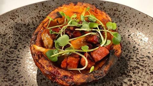 JP McMahon's Pumpkin, chorizo, & mushroom salad