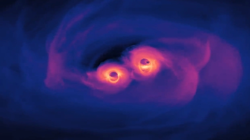 The new simulation shows three orbits of a pair of supermassive black holes only 40 orbits from merging