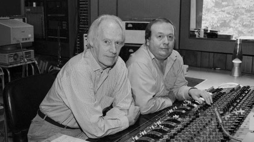 Geoff Emerick with George Martin at Abbey Road Studios