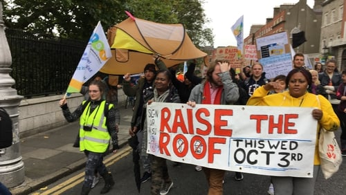 Protesters on last week's Raise the Roof housing march