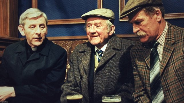 Donall Farmer as 'Fr Devereux', Cyril Cusack as 'Uncle Peter' and Robert Carrickford as 'Stephen Brennan' in 'Glenroe'