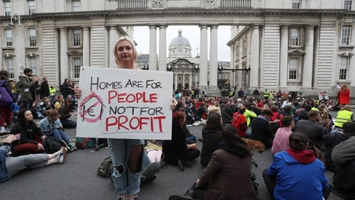 A housing protest outside Government Buildings in Dublin