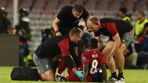Naby Keita eventually left the pitch on a stretcher