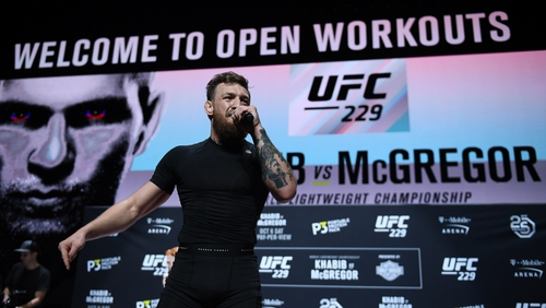 Conor McGregor addressing the public