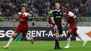 Matteo Guendouzi celebrates scoring Arsenal's third goal against Qarabag in tonight's Europa League win