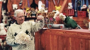 Gay Byrne and Dustin on 'The Late Late' toy show (1997). Image courtesy of RTÉ Archives.